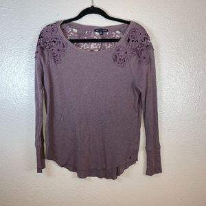 American Eagle Small Purple Long Sleeve Shirt